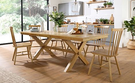 Grange Oak Extending Dining Table with 8 Pendle Chairs