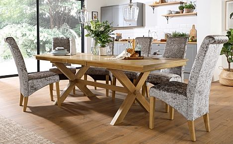 Grange Oak Extending Dining Table with 6 Boston Silver Velvet Chairs