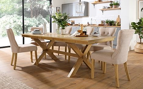Grange Oak Extending Dining Table with 8 Bewley Oatmeal Fabric Chairs
