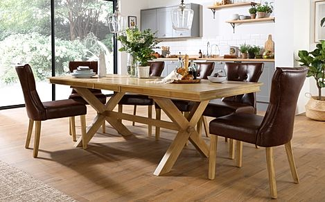 Grange Oak Extending Dining Table with 6 Bewley Club Brown Leather Chairs