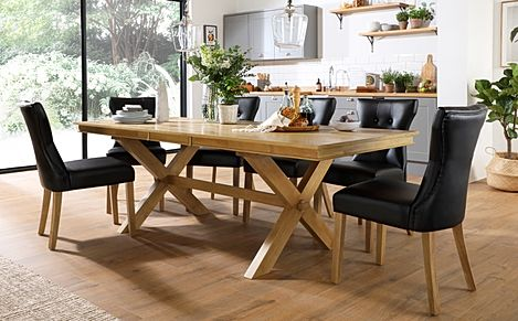 Grange Oak Extending Dining Table with 6 Bewley Black Leather Chairs