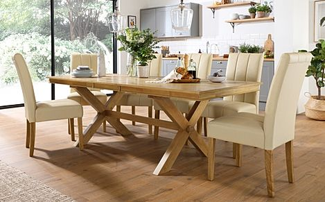 Grange Oak Extending Dining Table with 8 Carrick Ivory Leather Chairs