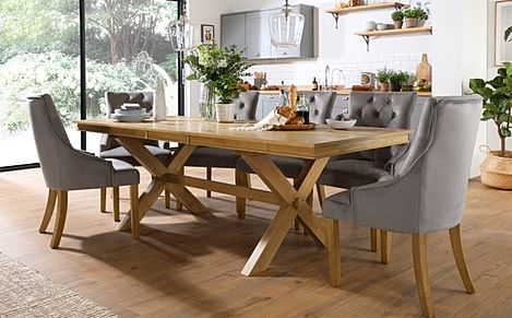 Grange Oak Extending Dining Table with 8 Duke Grey Velvet Chairs