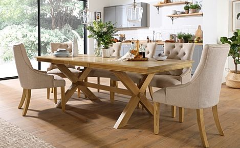 Grange Oak Extending Dining Table with 8 Duke Oatmeal Fabric Chairs