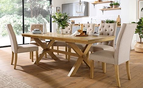 Grange Oak Extending Dining Table with 8 Hatfield Oatmeal Fabric Chairs