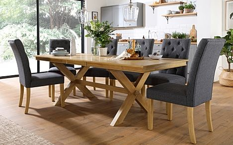Grange Oak Extending Dining Table with 8 Hatfield Slate Fabric Chairs