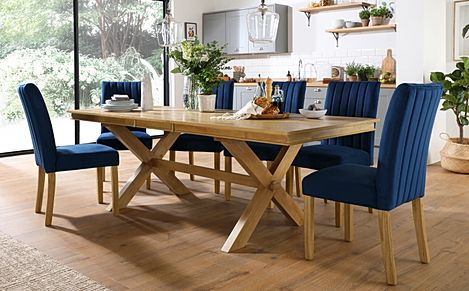 Grange Oak Extending Dining Table with 6 Salisbury Blue Velvet Chairs