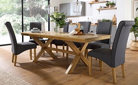 Grange Oak Extending Dining Table with 8 Stamford Slate Fabric Chairs