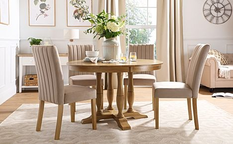 Highgrove Round Oak Wood Dining Table with 4 Salisbury Mink Velvet Chairs