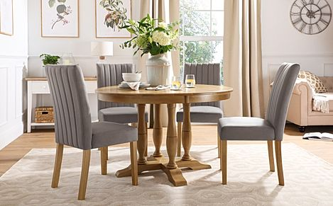 Highgrove Round Oak Wood Dining Table with 4 Salisbury Grey Velvet Chairs