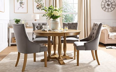 Highgrove Round Oak Wood Dining Table with 4 Duke Grey Velvet Chairs
