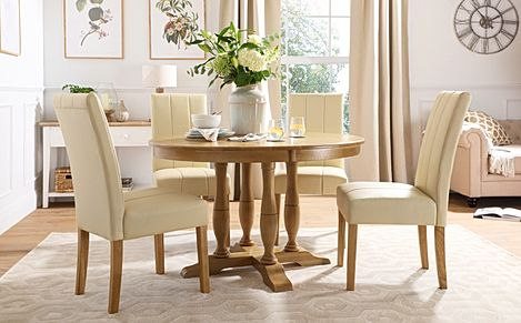 Highgrove Round Oak Wood Dining Table with 4 Carrick Ivory Leather Chairs