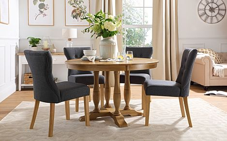 Highgrove Round Oak Wood Dining Table with 4 Bewley Slate Fabric Chairs
