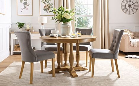 Highgrove Round Oak Wood Dining Table with 4 Bewley Grey Velvet Chairs