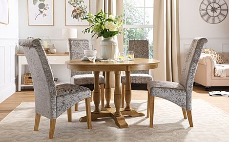 Highgrove Round Oak Wood Dining Table with 4 Boston Silver Velvet Chairs