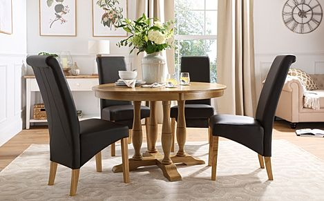 Highgrove Round Oak Wood Dining Table with 4 Richmond Brown Leather Chairs