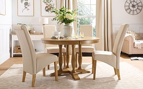 Highgrove Round Oak Wood Dining Table with 4 Richmond Cream Leather Chairs