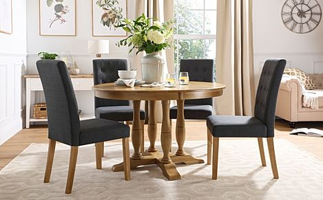 Highgrove Round Oak Wood Dining Table with 4 Regent Slate Fabric Chairs
