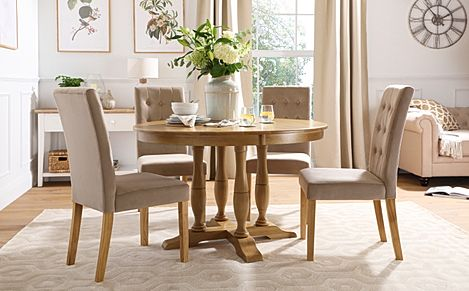Highgrove Round Oak Wood Dining Table with 4 Regent Mink Velvet Chairs
