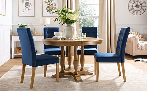 Highgrove Round Oak Wood Dining Table with 4 Regent Blue Velvet Chairs