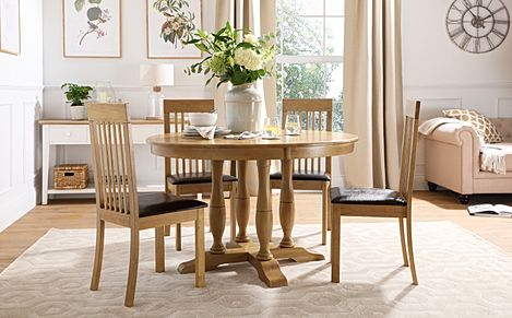 Highgrove Round Oak Wood Dining Table with 4 Oxford Chairs (Brown Leather Seat Pad)