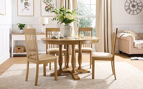 Highgrove Round Oak Wood Dining Table with 4 Oxford Chairs (Ivory Leather Seat Pads)