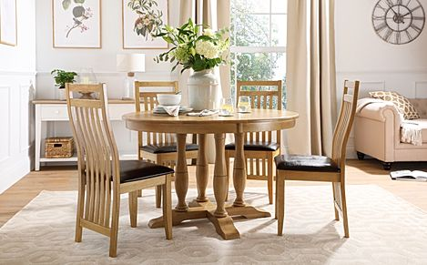 Highgrove Round Oak Wood Dining Table with 4 Bali Chairs (Brown Leather Seat Pad)