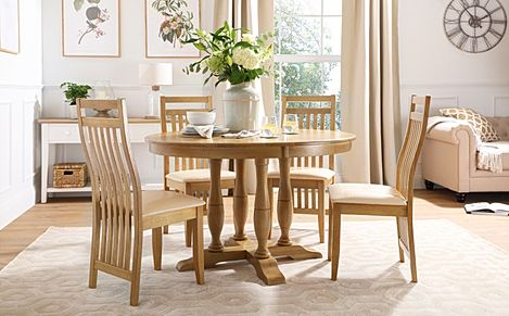 Highgrove Round Oak Wood Dining Table with 4 Bali Chairs (Ivory Leather Seat Pads)