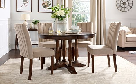 Highgrove Round Dark Wood Dining Table with 4 Salisbury Mink Velvet Chairs