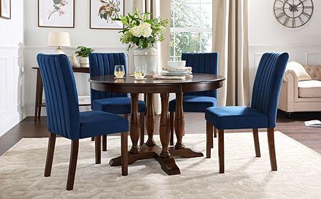 Highgrove Round Dark Wood Dining Table with 4 Salisbury Blue Velvet Chairs