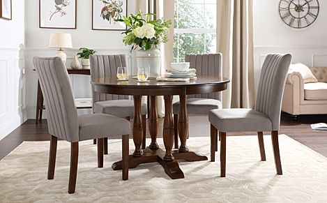 Highgrove Round Dark Wood Dining Table with 4 Salisbury Grey Velvet Chairs