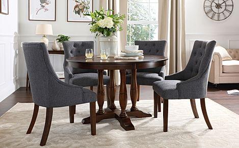 Highgrove Round Dark Wood Dining Table with 4 Duke Slate Fabric Chairs