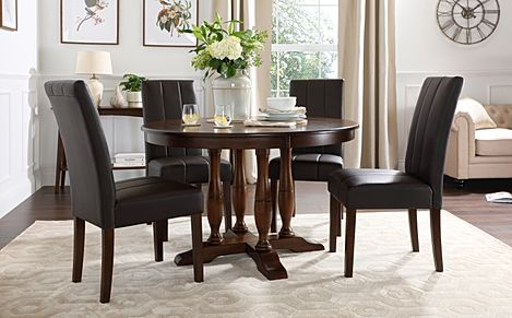 Highgrove Round Dark Wood Dining Table with 4 Carrick Brown Leather Chairs