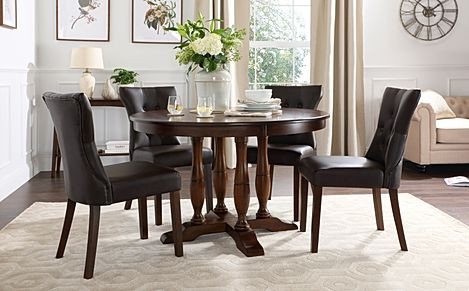 Highgrove Round Dark Wood Dining Table with 4 Bewley Brown Leather Chairs