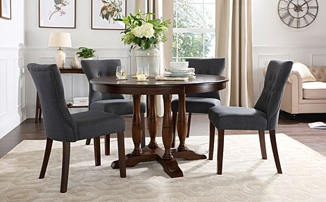 Highgrove Round Dark Wood Dining Table with 4 Bewley Slate Fabric Chairs