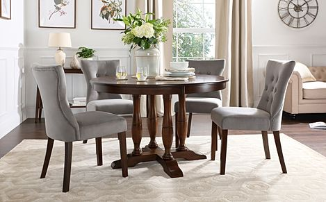 Highgrove Round Dark Wood Dining Table with 4 Bewley Grey Velvet Chairs