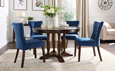 Highgrove Round Dark Wood Dining Table with 4 Bewley Blue Velvet Chairs