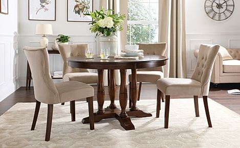 Highgrove Round Dark Wood Dining Table with 4 Bewley Mink Velvet Chairs