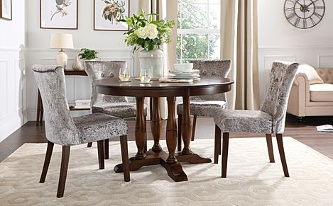 Highgrove Round Dark Wood Dining Table with 4 Bewley Silver Velvet Chairs