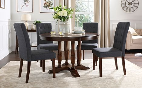 Highgrove Round Dark Wood Dining Table with 4 Regent Slate Fabric Chairs