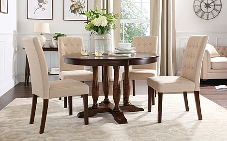 Highgrove Round Dark Wood Dining Table with 4 Regent Oatmeal Fabric Chairs