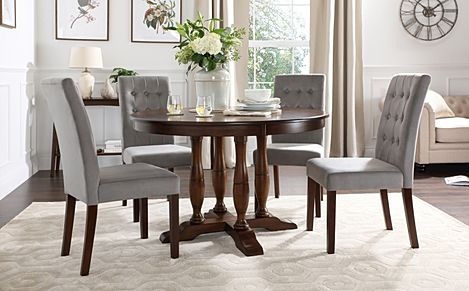 Highgrove Round Dark Wood Dining Table with 4 Regent Grey Velvet Chairs