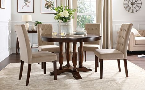 Highgrove Round Dark Wood Dining Table with 4 Regent Mink Velvet Chairs