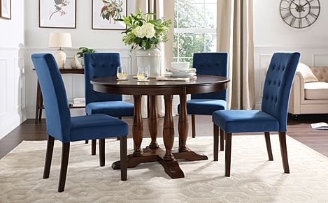Highgrove Round Dark Wood Dining Table with 4 Regent Blue Velvet Chairs