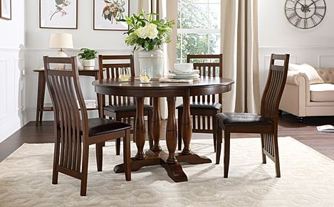 Highgrove Round Dark Wood Dining Table with 4 Java Chairs (Brown Leather Seat Pads)