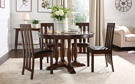 Highgrove Round Dark Wood Dining Table with 4 Chester Chairs (Brown Leather Seat Pad)