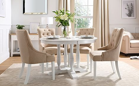 Highgrove Round White Wood Dining Table with 4 Duke Oatmeal Fabric Chairs