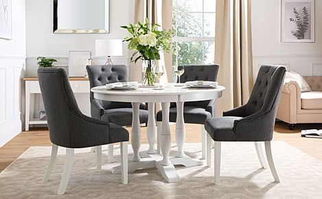 Highgrove Round White Wood Dining Table with 4 Duke Slate Fabric Chairs
