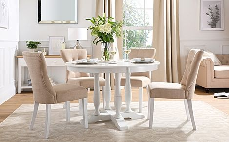 Highgrove Round White Wood Dining Table with 4 Bewley Oatmeal Fabric Chairs