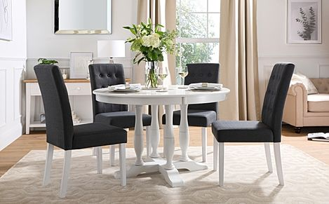 Highgrove Round White Wood Dining Table with 4 Regent Slate Fabric Chairs